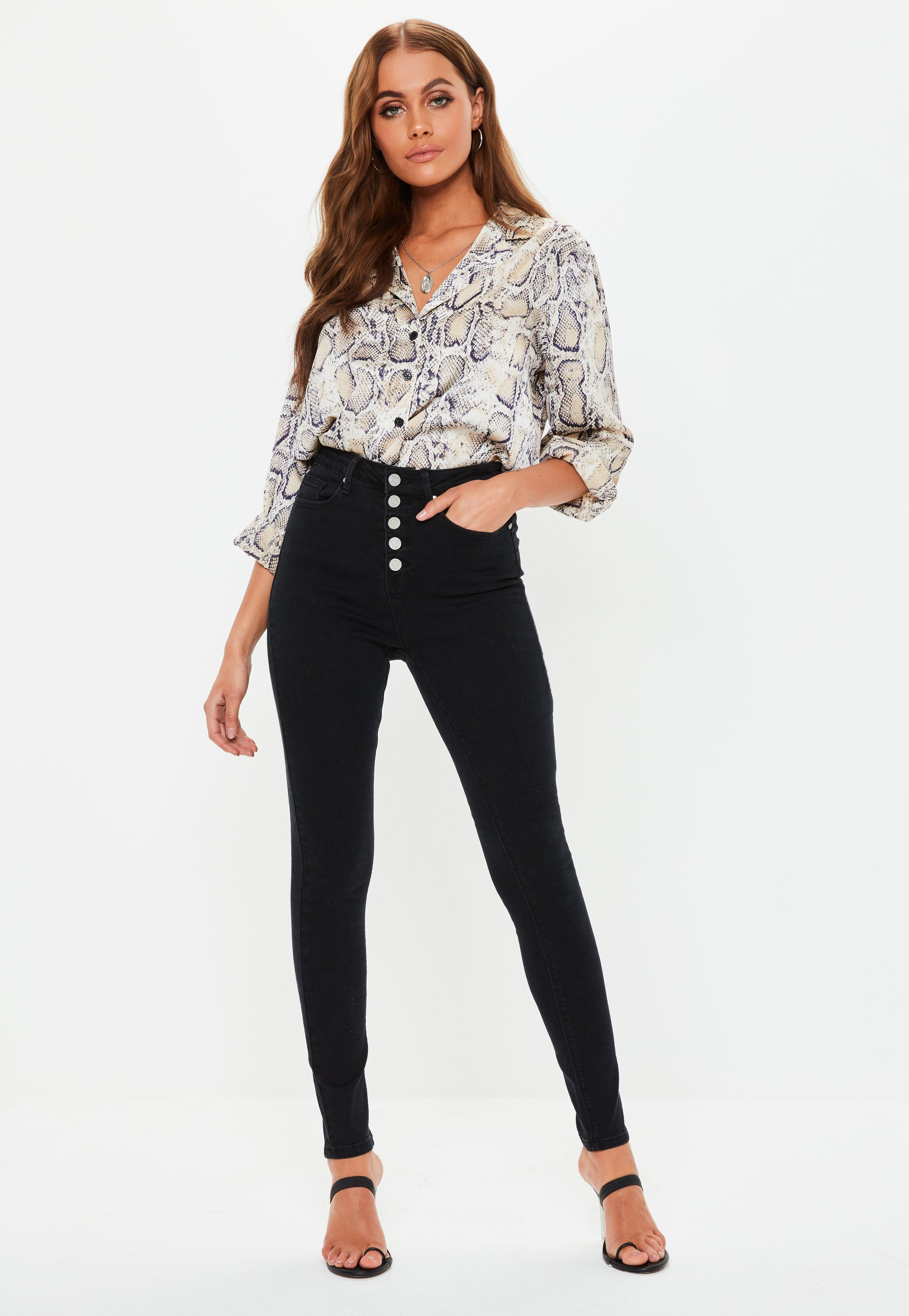 9bf1eac215904 Black Sinner Button Front High Waisted Skinny Jeans