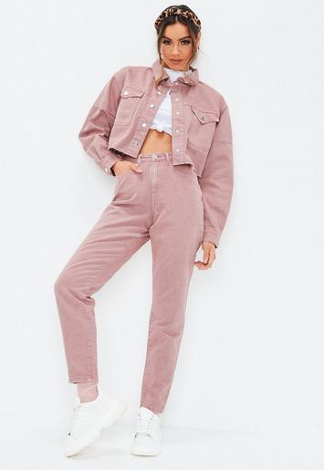 d65a00cb9935 Jean mom riot rose taille haute
