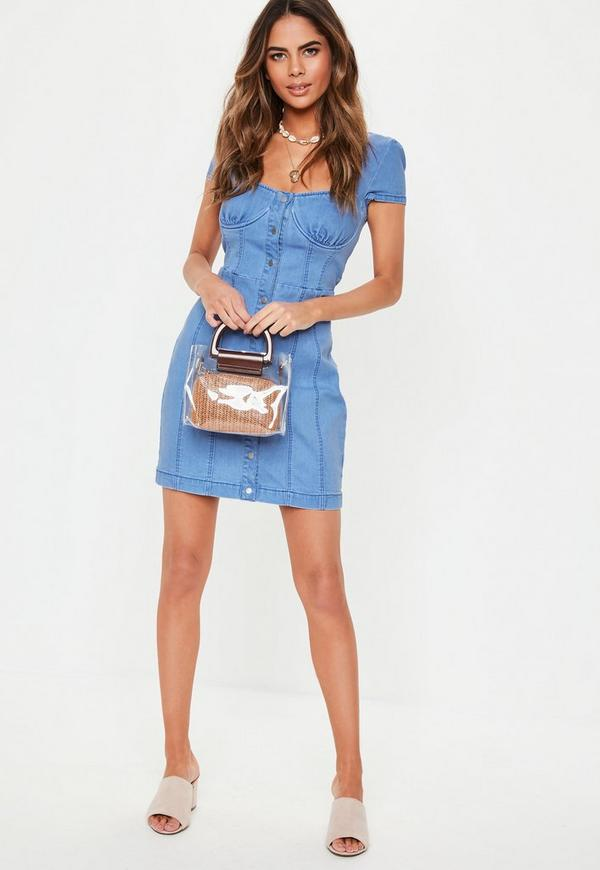62f7819514 ... Blue Cap Sleeve Button Through Stretch Denim Mini Dress. Previous Next
