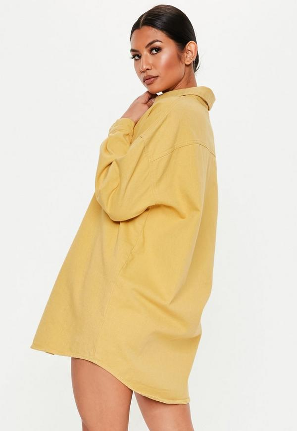 cbd82a9ebd5cf Mustard Super Oversized Boyfriend Denim Shirt Dress. Previous Next