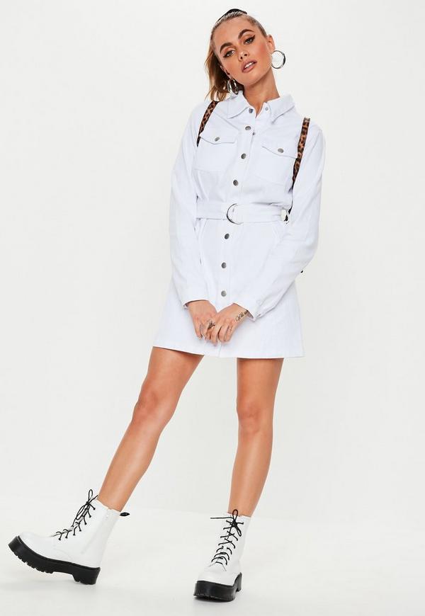 98b98a59d49 White Button Through Utility Denim Shirt Dress