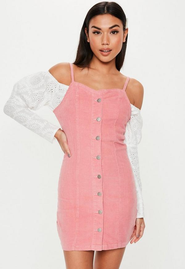 Pink Button Through Cord Mini Dress by Missguided