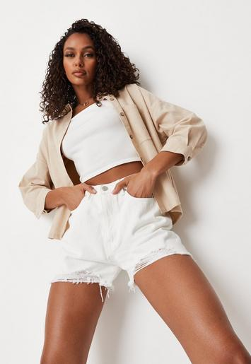white extreme ripped hem high waist denim shorts