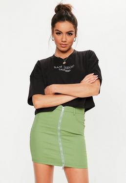 Zielona jeansowa spódniczka z zamkiem