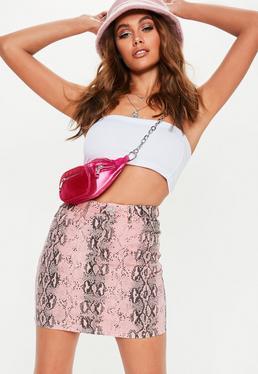 891efc4d26 Lime Snake Print Jumpsuit · Pink Snake Print Superstretch Denim Mini Skirt
