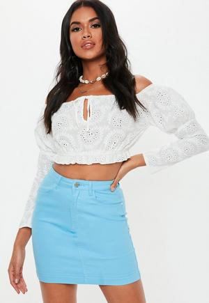 6646a08bc3 Orange Stretch Denim Mini Skirt | Missguided