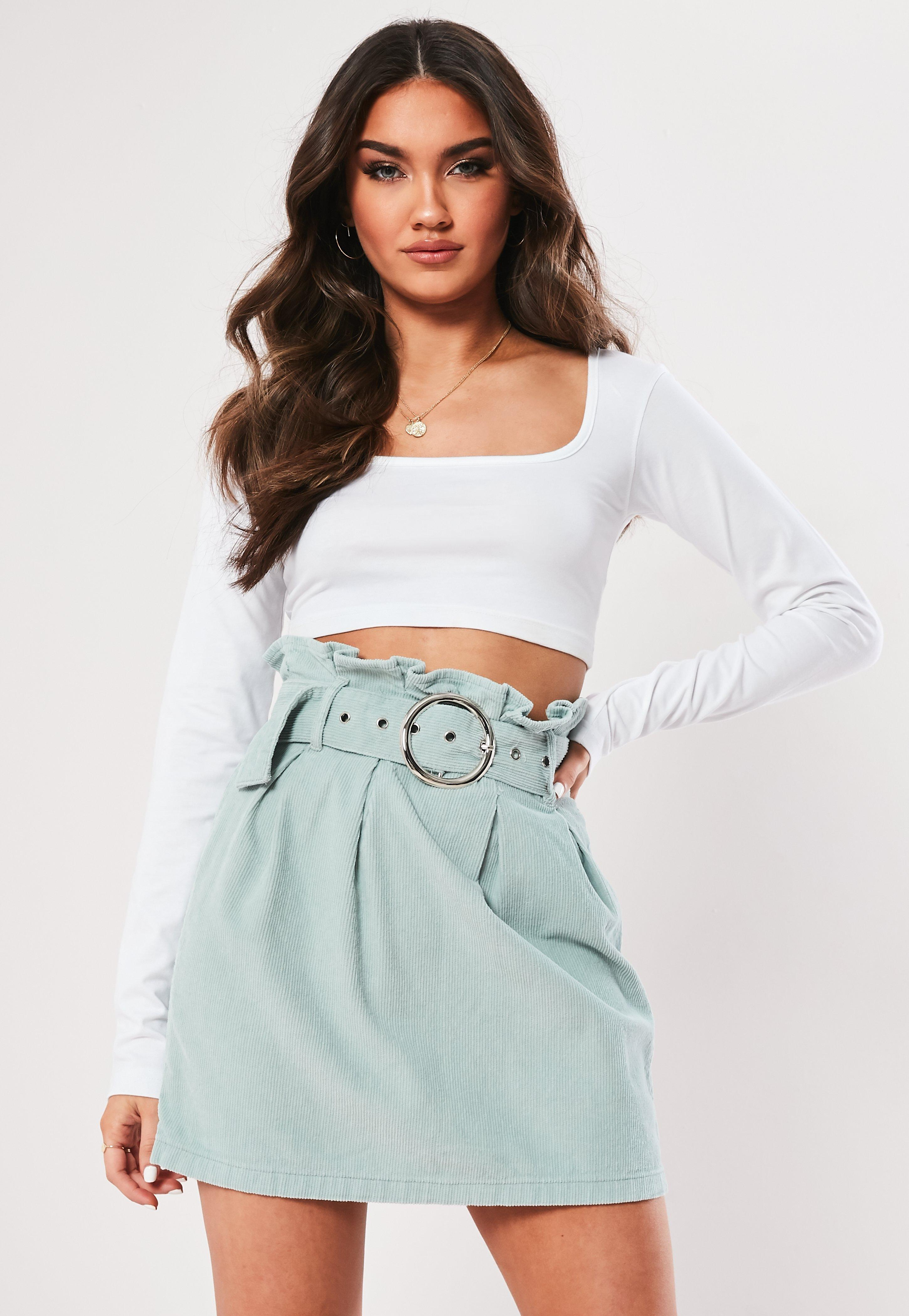 66594a52c3a0 Green Paperbag Waist Belted Cord Skirt | Missguided Australia