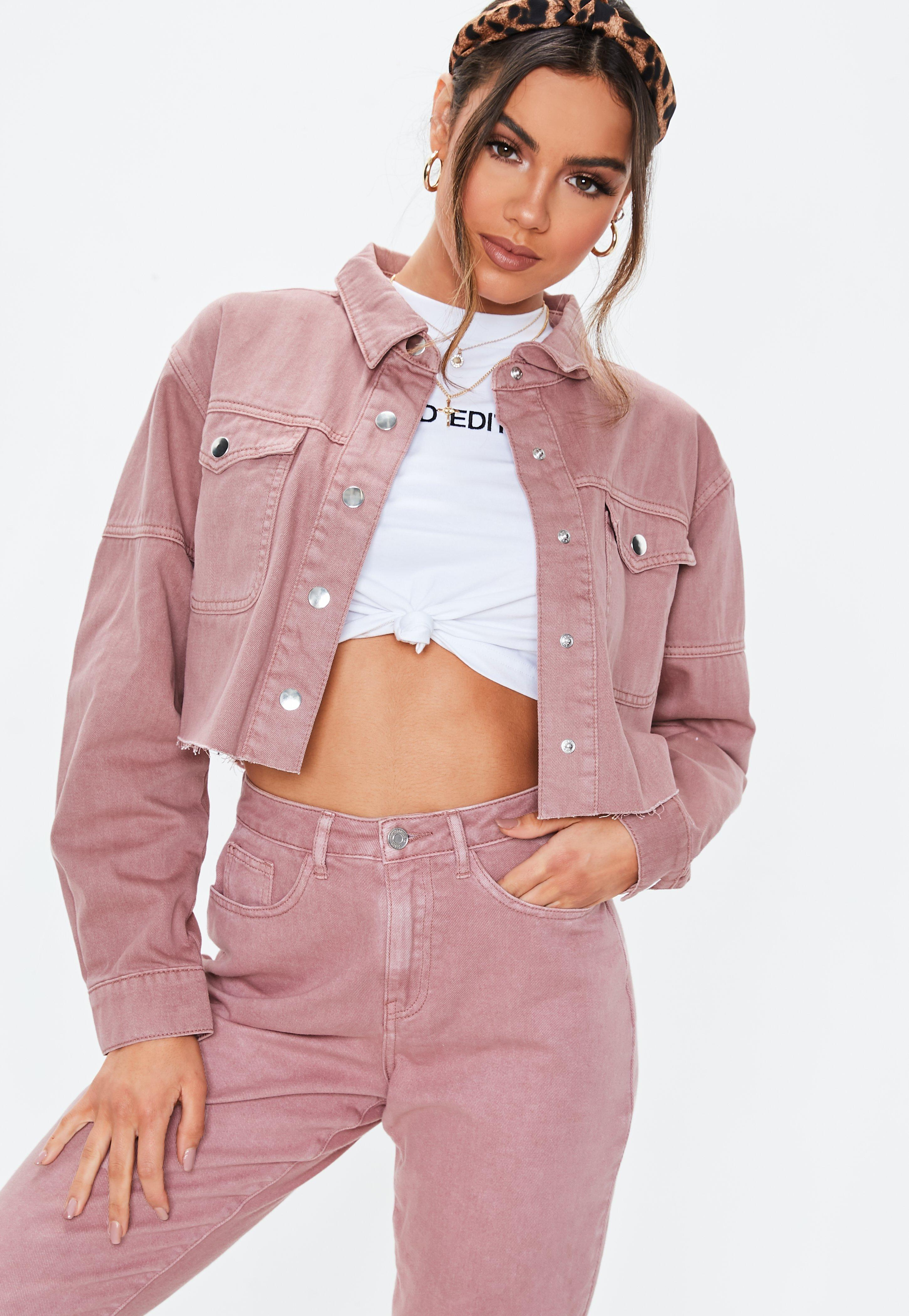 Blush Pink Contrast Stitch Cropped Co Ord Denim Shacket by Missguided