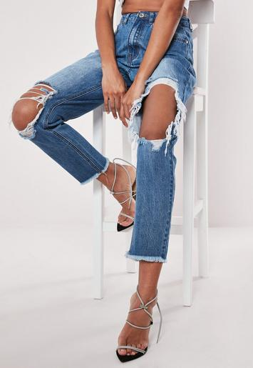 Blue Riot High Rise Open Ripped Knee Mom Jeans Missguided