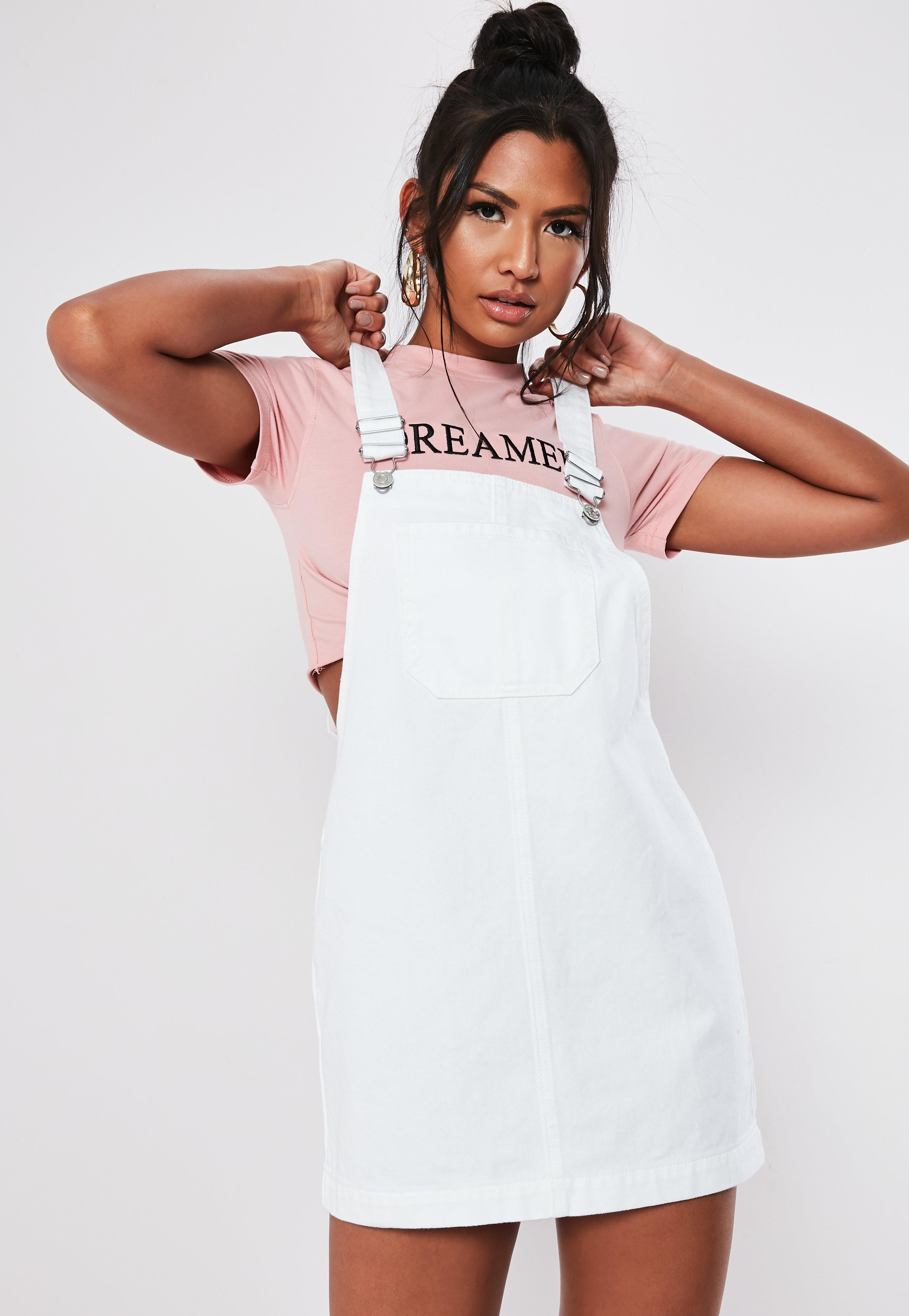 61a5adb938f White Denim Pinafore Dress