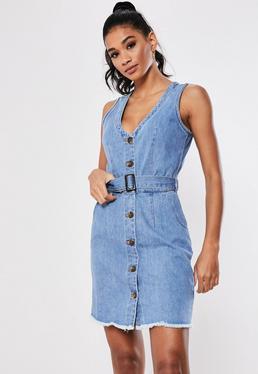 Синее джинсовое мини-платье с поясом