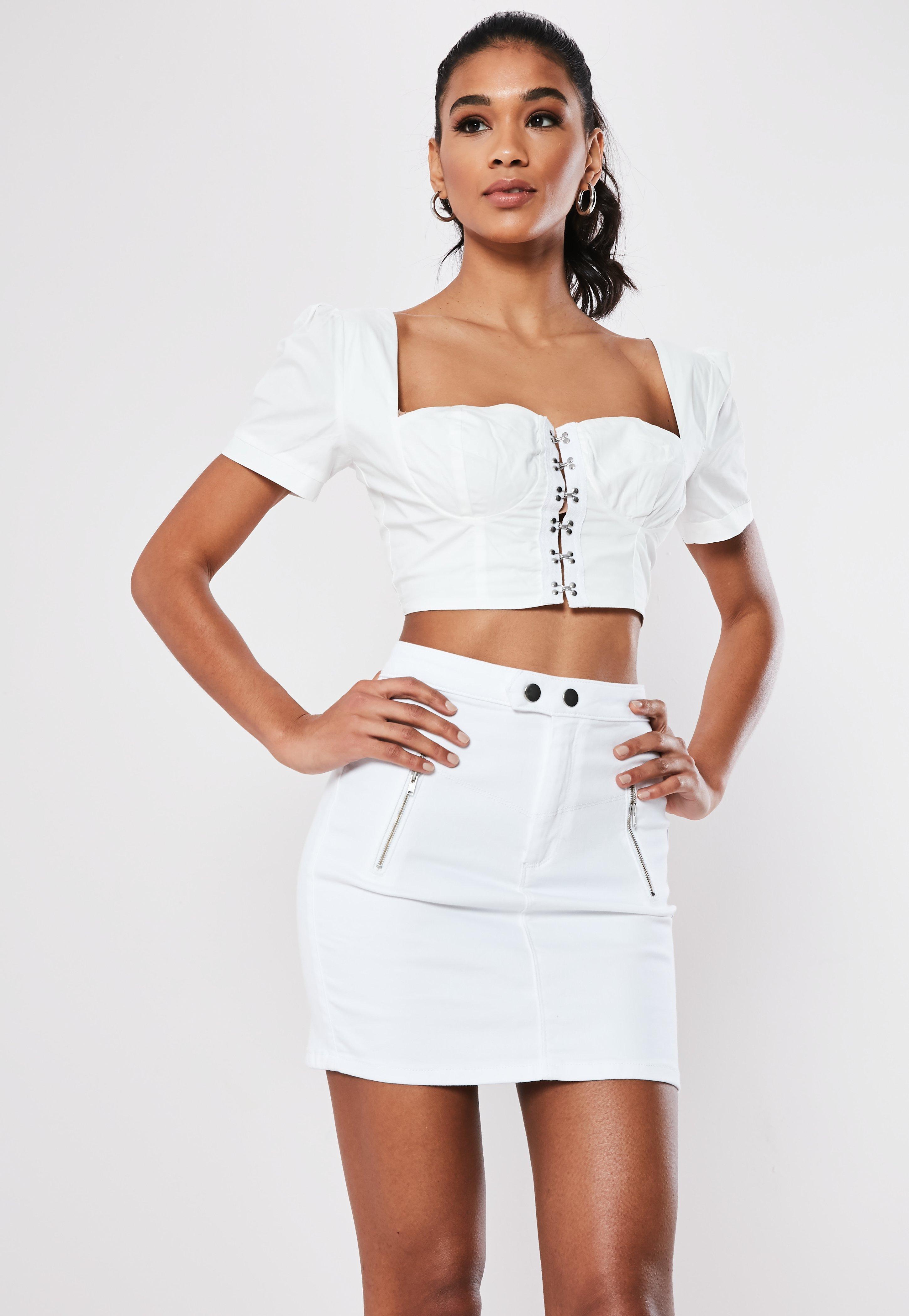 cf13f49903 Denim Skirts | White & Black Denim Skirt | Missguided