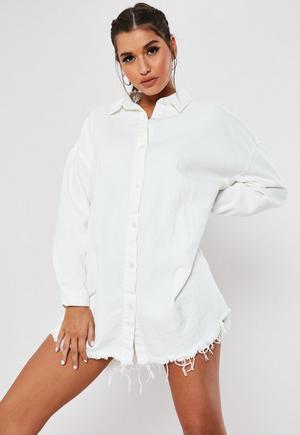 1e9411f929bf White Jersey Tie Waist Oversized Utility Shirt Dress | Missguided