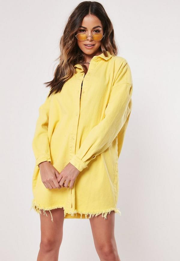 200147a5d16 yellow denim super oversized shirt dress