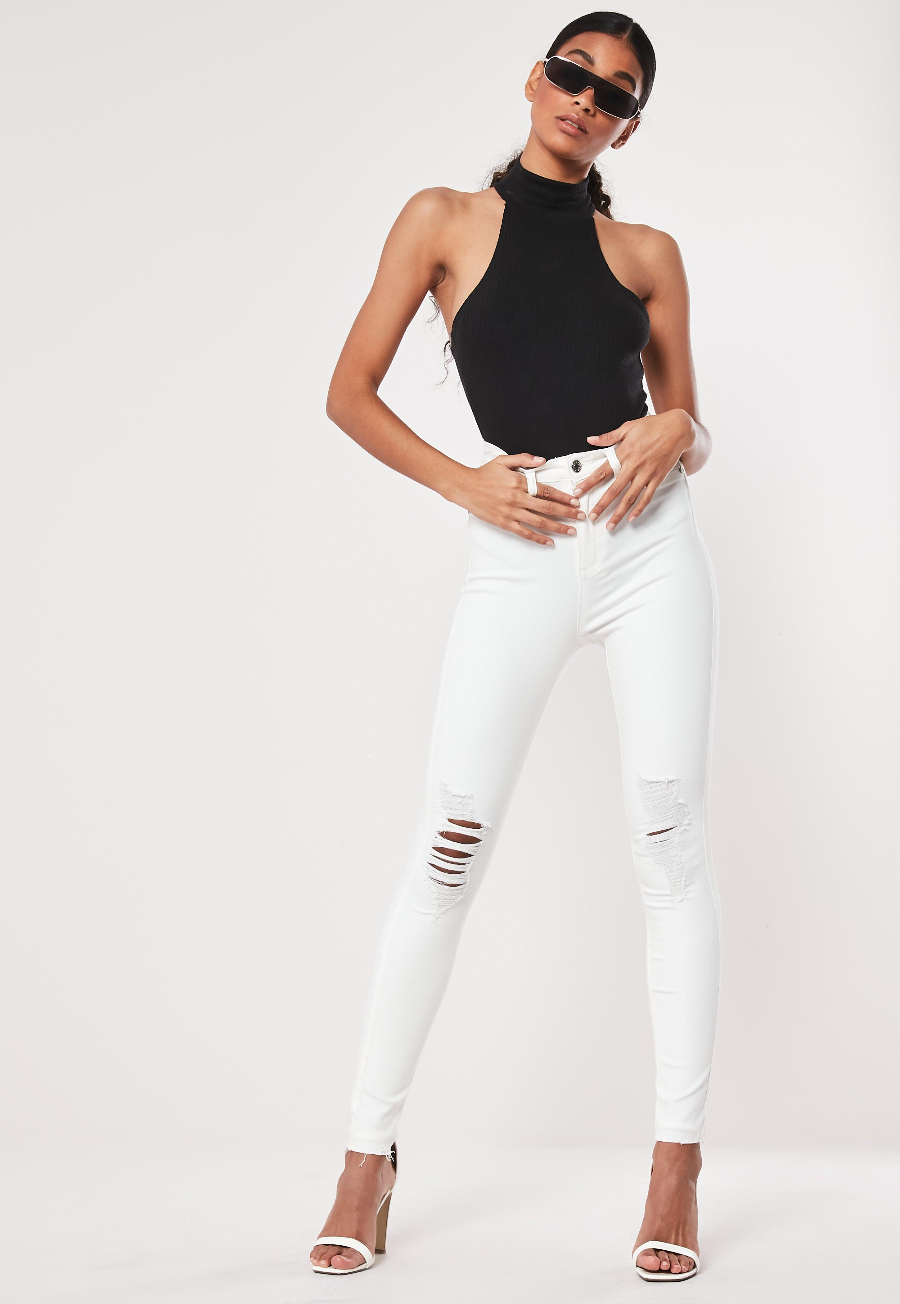 White Sinner Ripped Knee Denim Skinny Jeans by Missguided