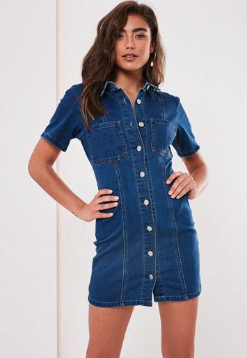 Blue Short Sleeve Stretch Denim Dress by Missguided