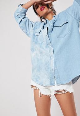 Blue Tie Dye Винтажная джинсовая рубашка