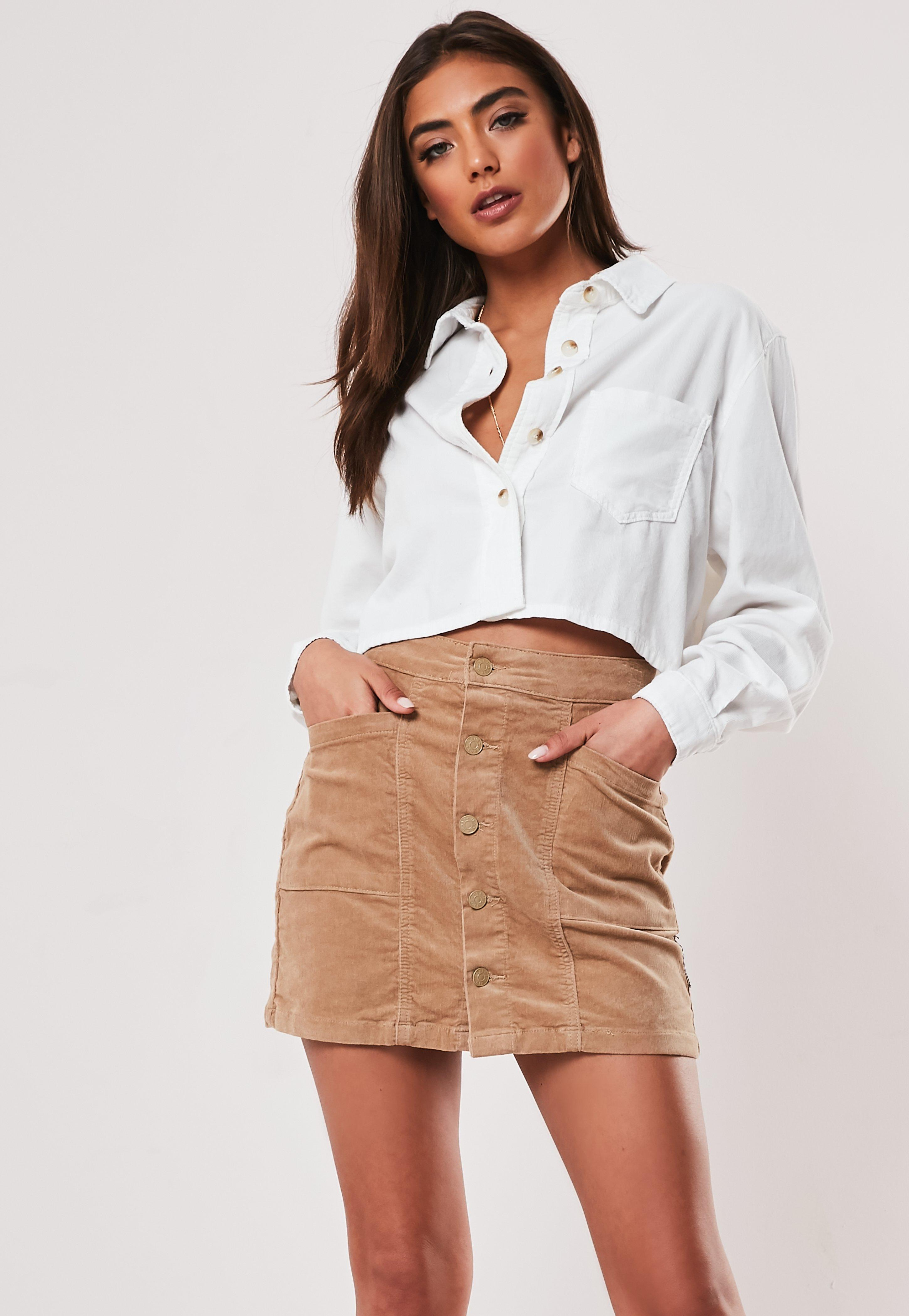 Cream Cord Cropped Shirt by Missguided