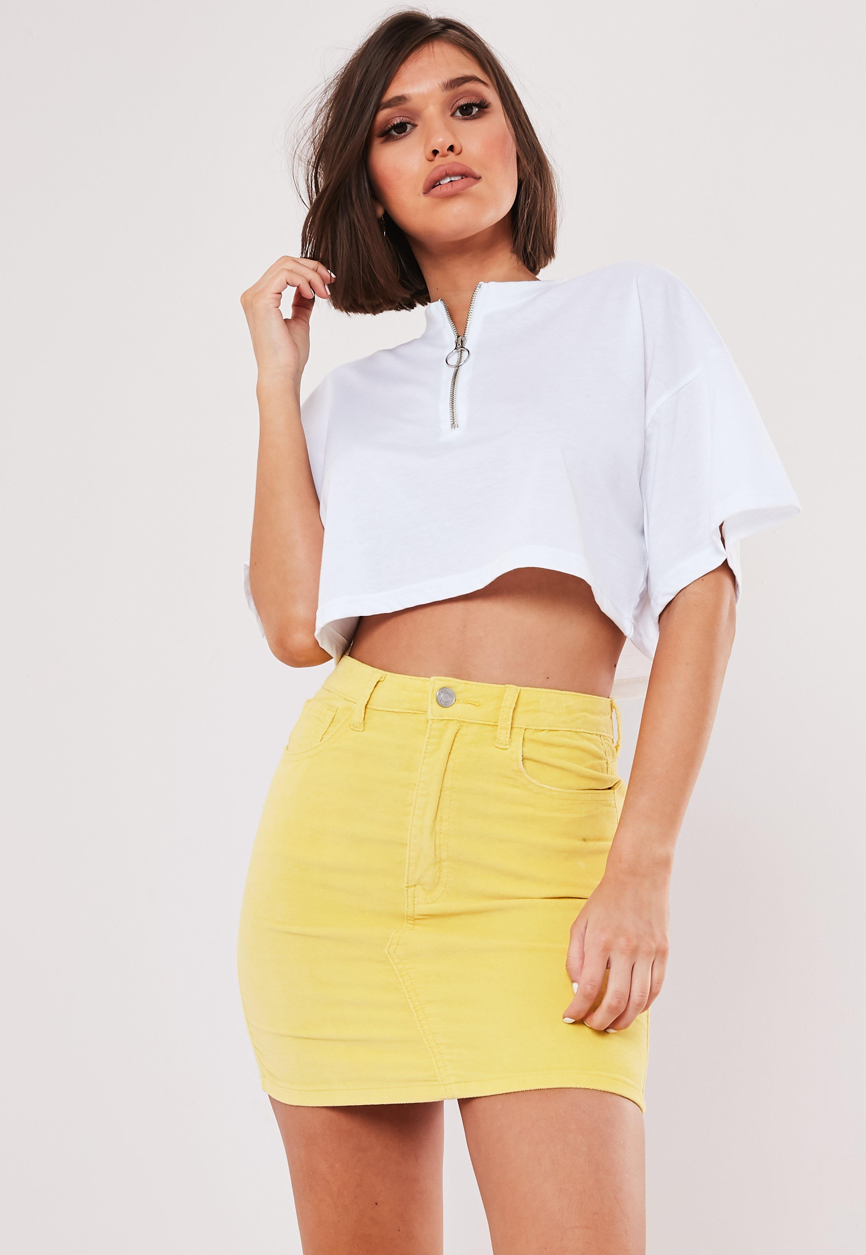 Yellow Velveteen A Line Mini Skirt by Missguided