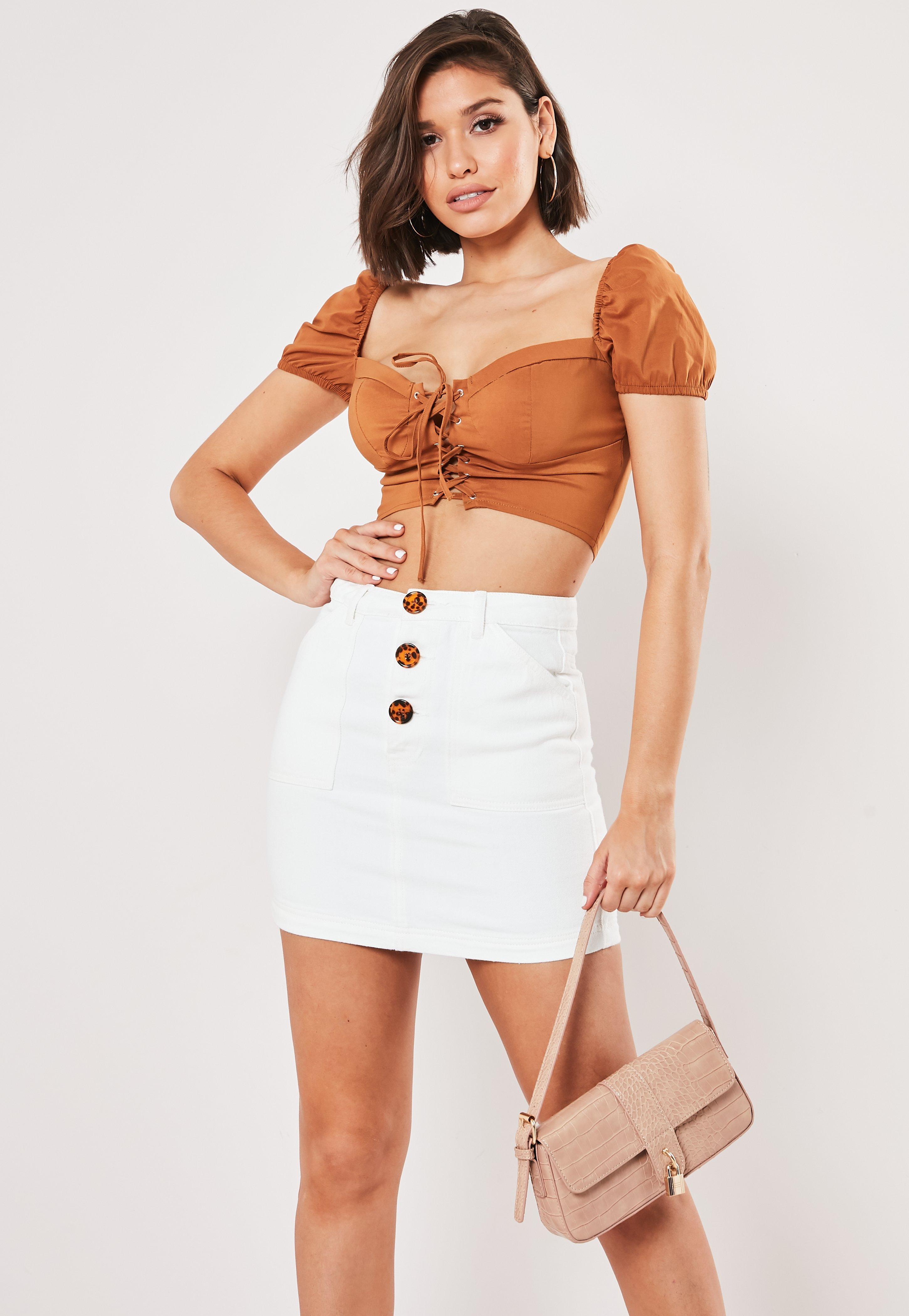 White Tortoiseshell Button Through Denim Skirt by Missguided
