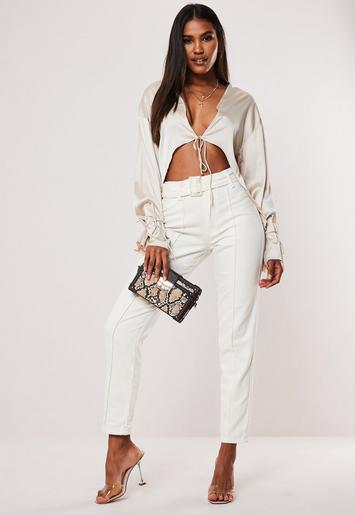 White Riot High Waisted Belted Front Seam Jeans by Missguided