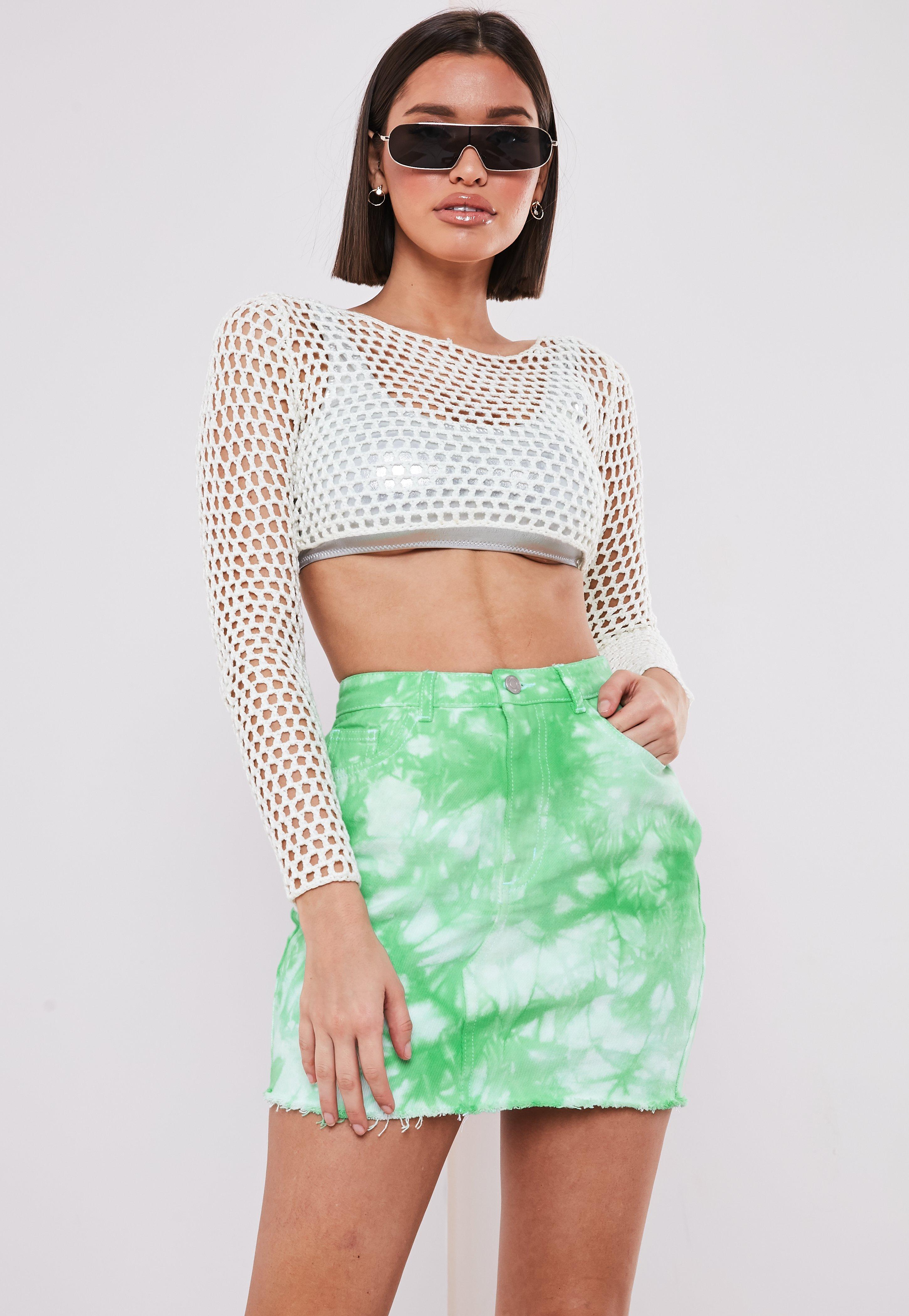 Green Tie Dye Denim Mini Skirt by Missguided