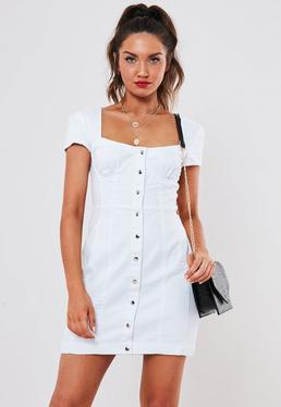 2b066e69927 White Milkmaid Denim Mini Dress