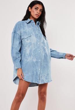 Синее джинсовое платье-рубашка с завязками
