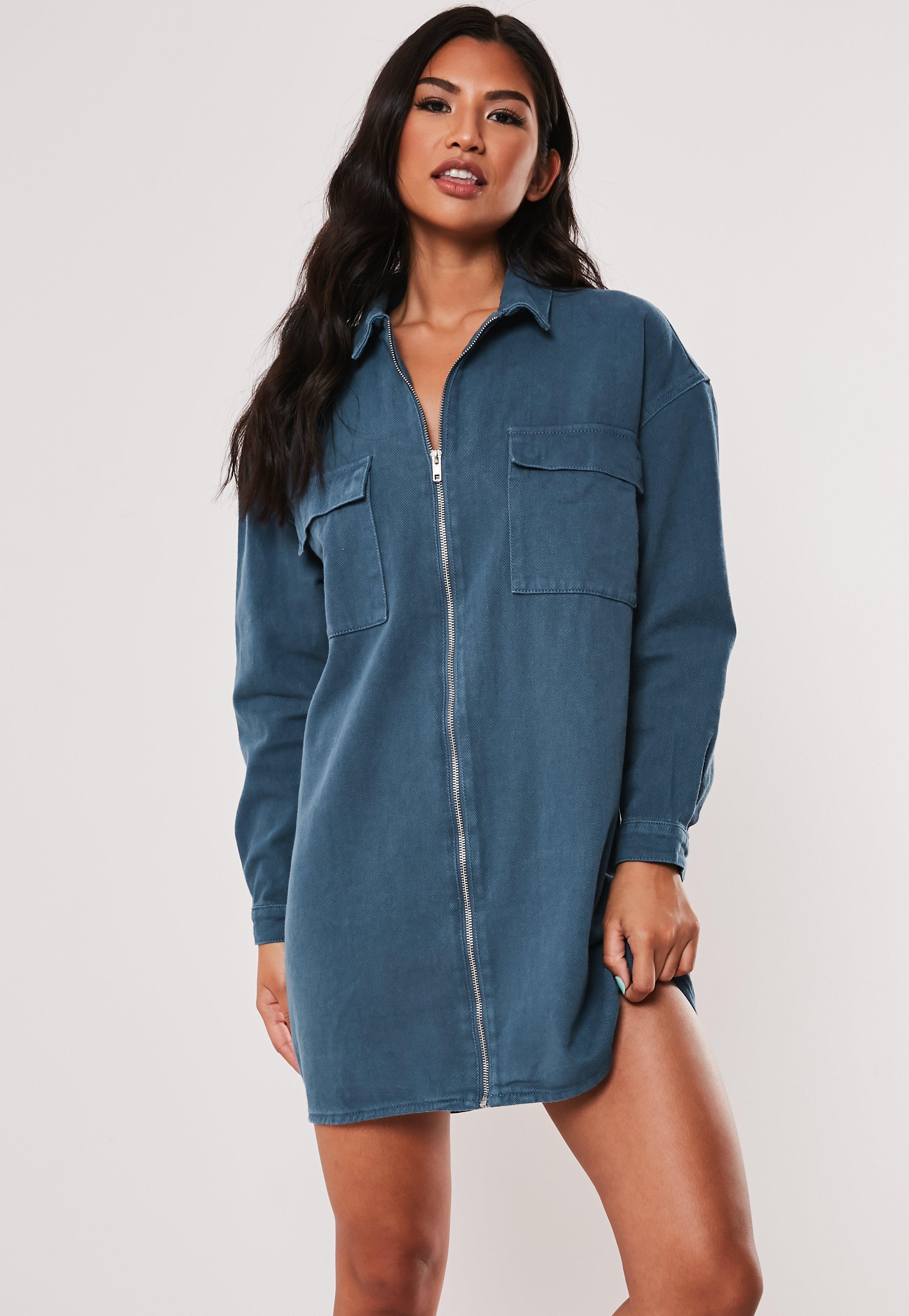 Denim Pocket Through Blue Zip Dress Utility 34R5qLAj