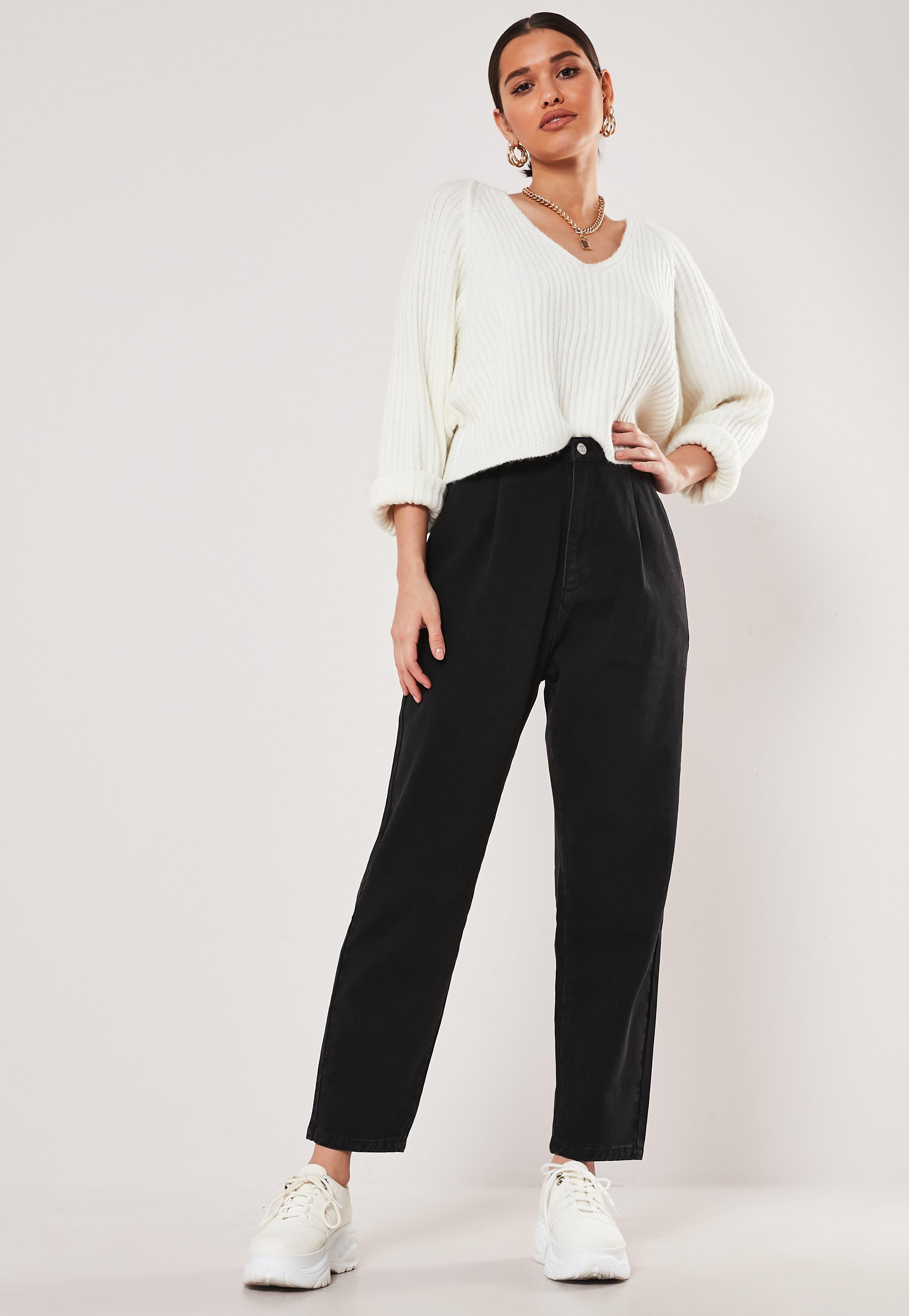 fc7240fb1 Jeans taille haute oversize noir