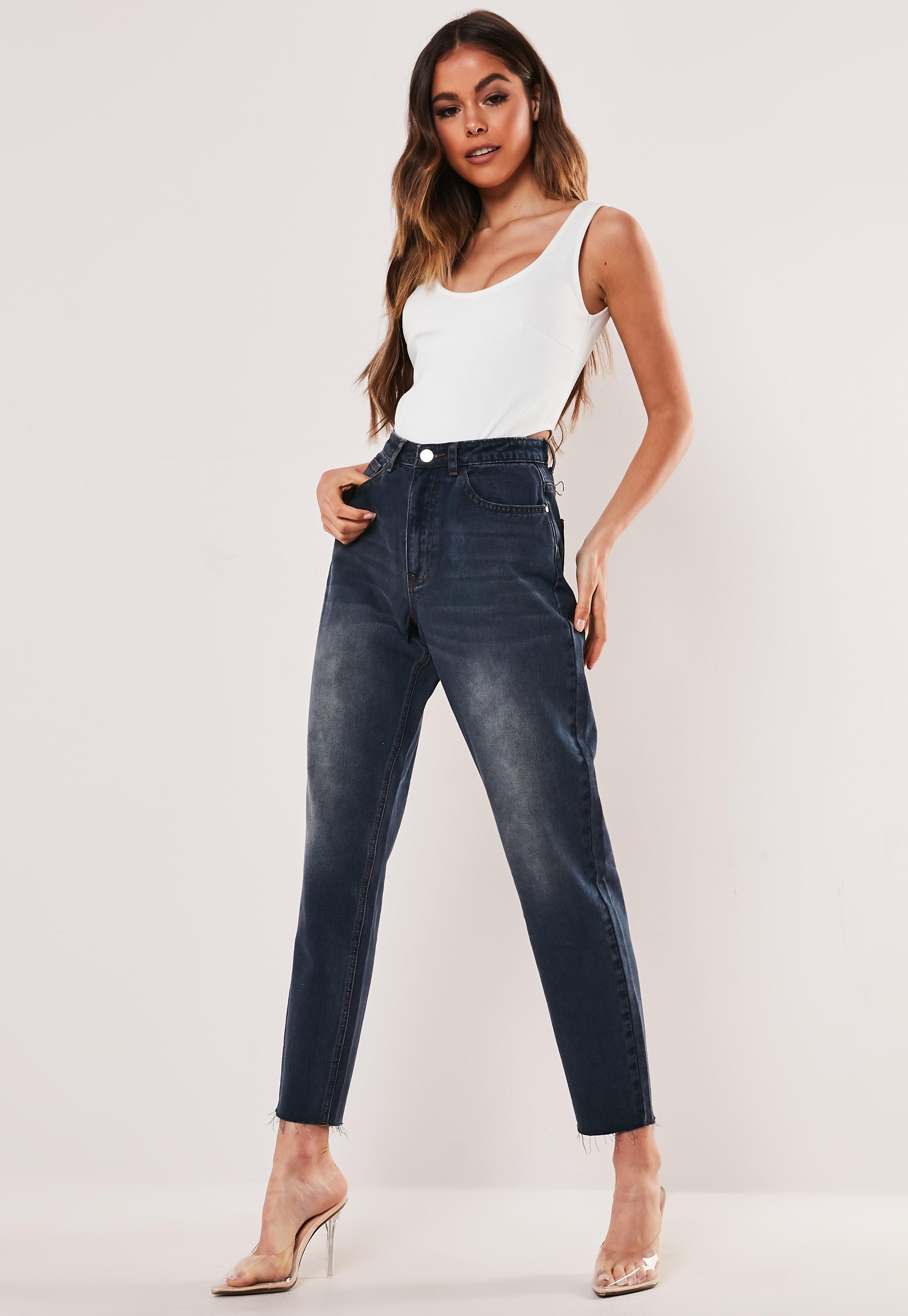 Haute Bleu Jeans Foncé Mom Taille FlK13JuTc5