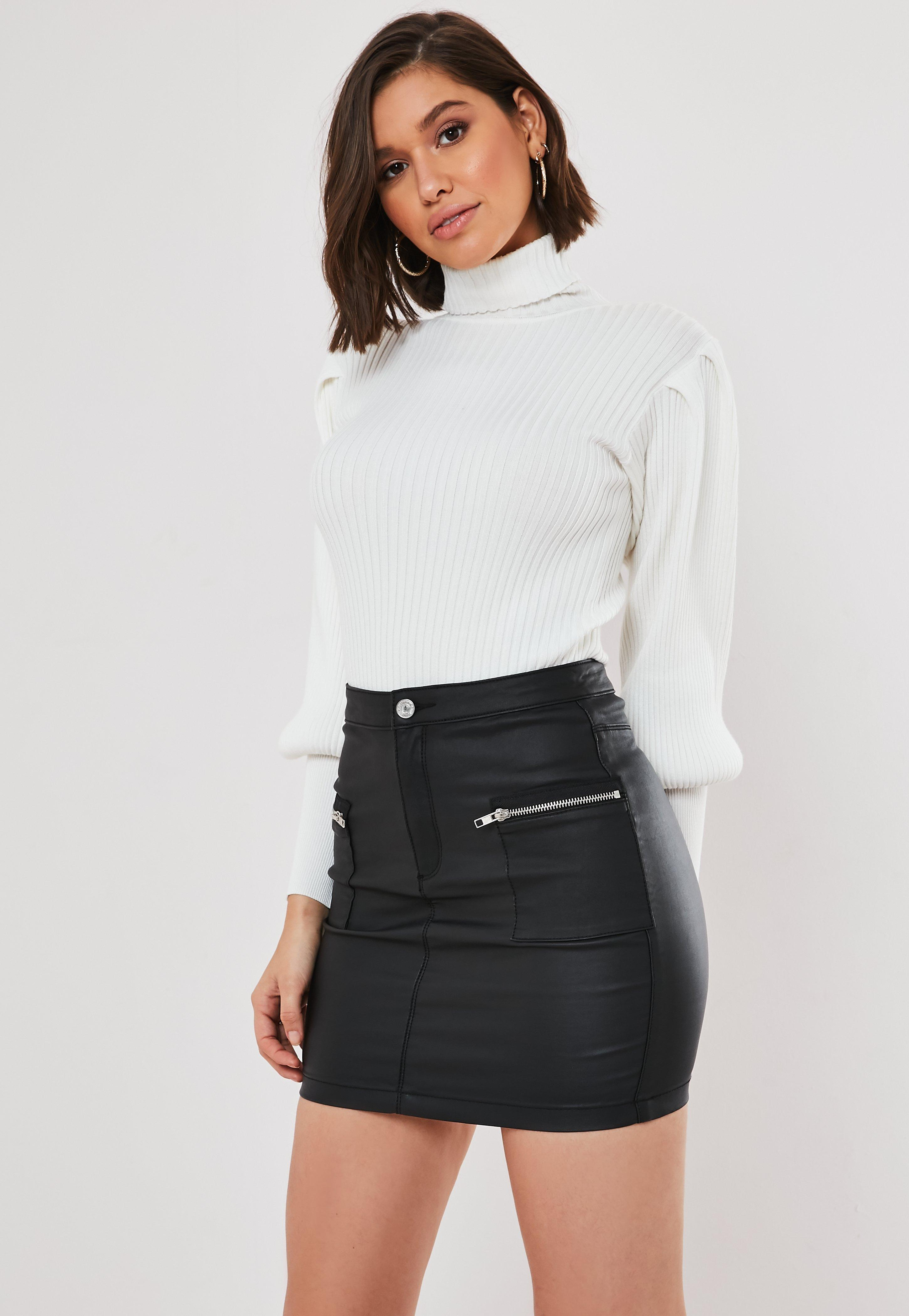 lace up in how to buy unique design Black Coated Zip Pocket Denim Mini Skirt | Missguided