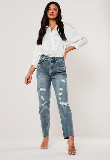 sells authorized site hot-selling newest Missguided - Blue Riot High Waisted Rip Distressed Mom Jeans