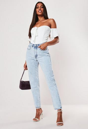 Light Blue Riot Stonewash Highwaisted Mom Jeans by Missguided