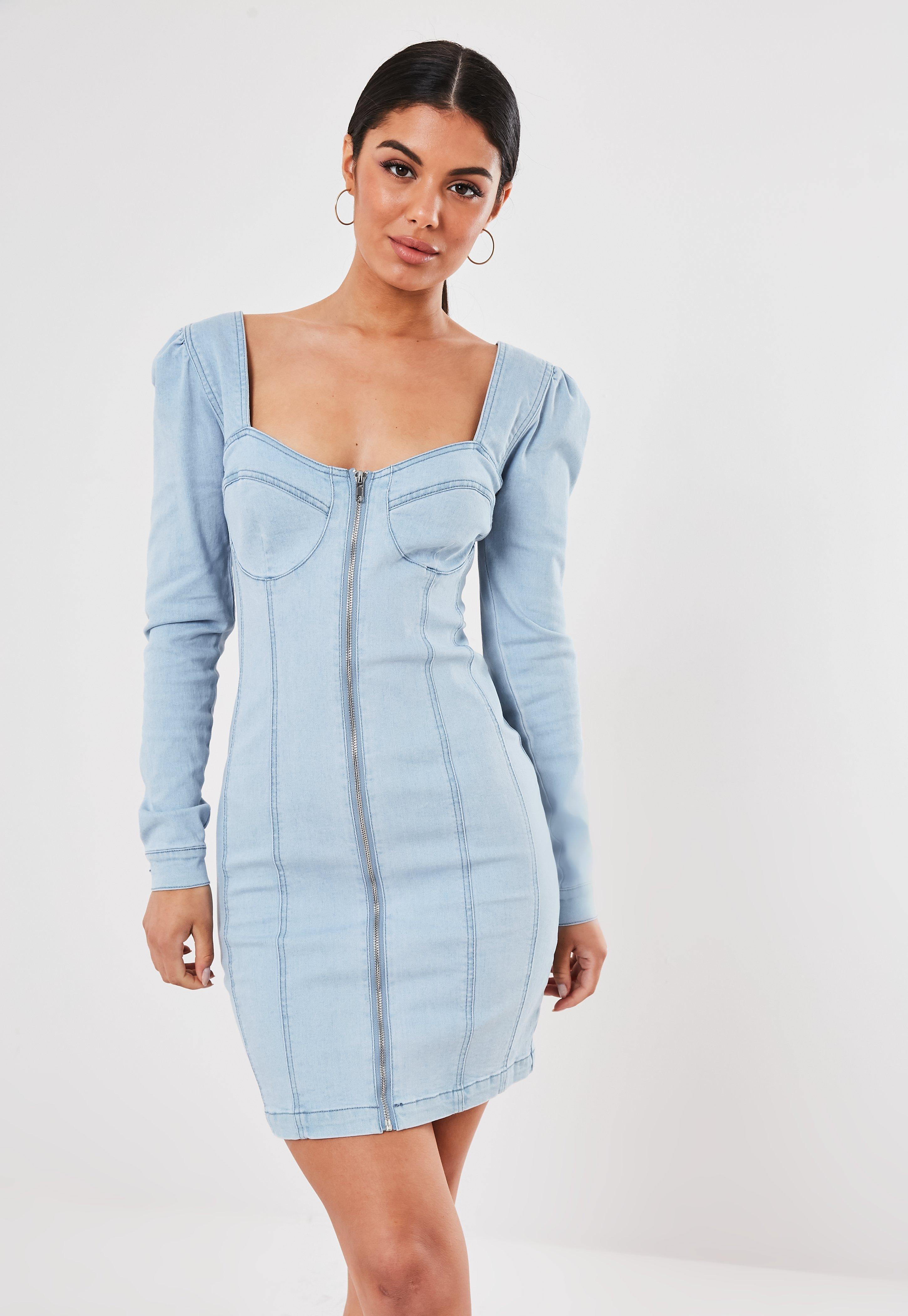38559bd3 Light Blue Puff Sleeve Zip Through Denim Dress