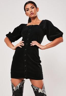 Czarna sztruksowa sukienka z bufiastymi r?kawami