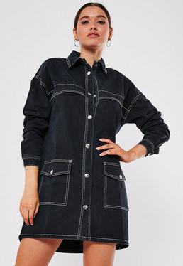 Czarna sukienka koszula utility obszyta bia?? nici?