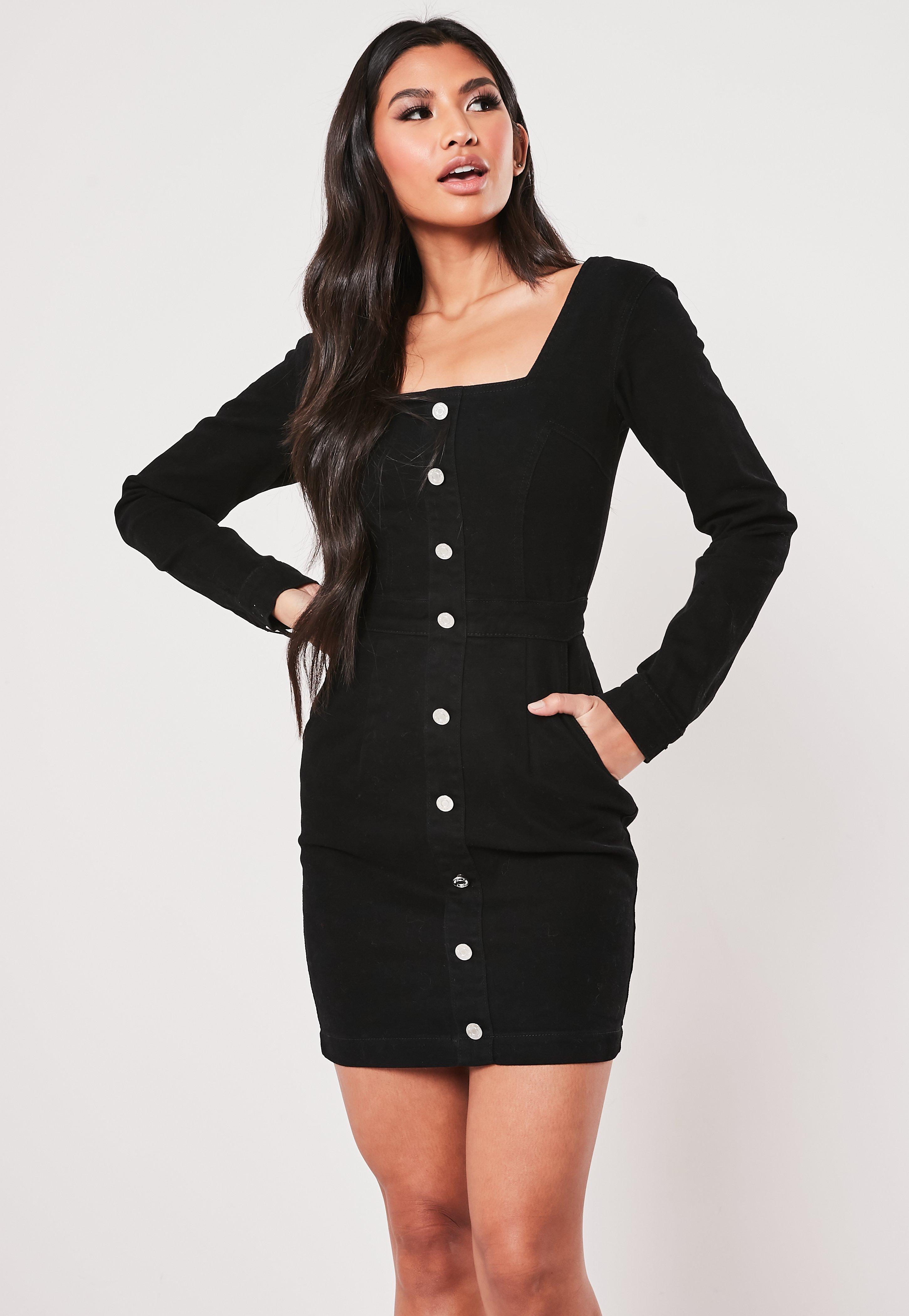 langärmeliges denim-kleid in schwarz mit geradem ausschnitt