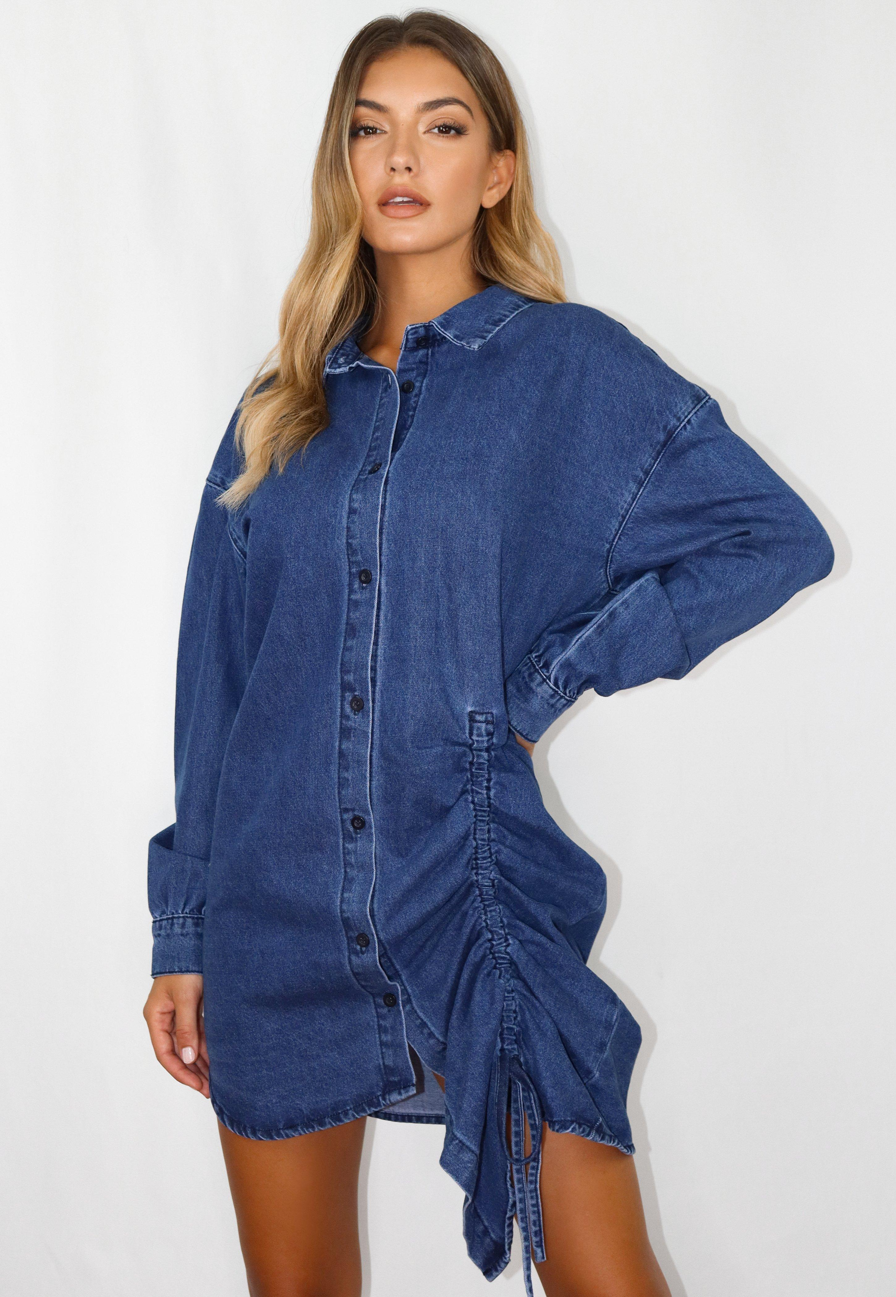 Robe Chemise Bleue Froncee En Jean Missguided