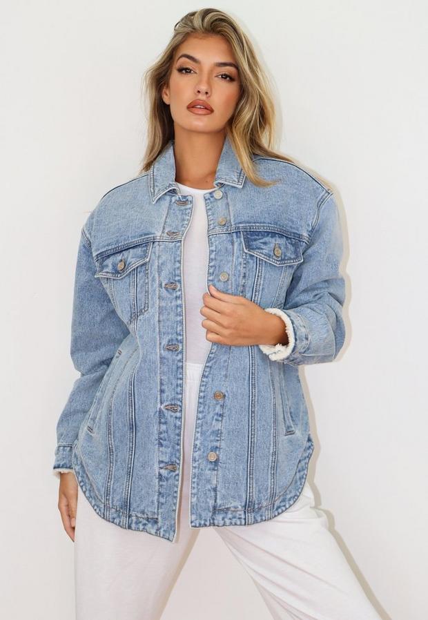 light blue borg lined oversized longline denim jacket