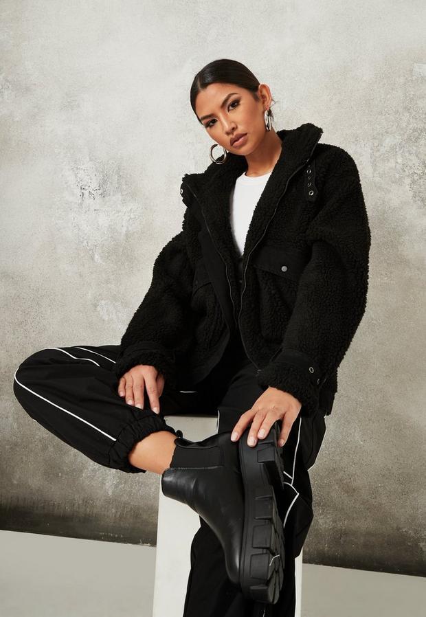 black borg denim mix oversized boxy jacket