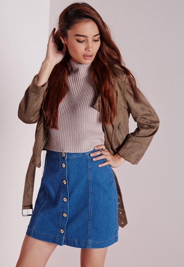 Button Through Denim Skirt Pretty Blue