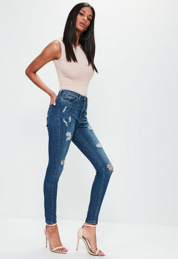 Sinner High Waisted Ripped Skinny Jeans Vintage Blue - Jeans ...