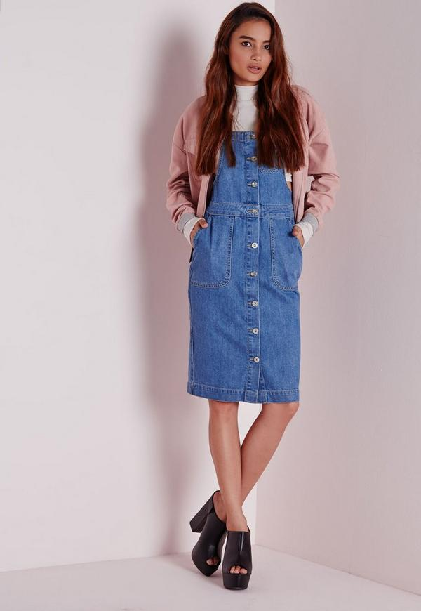 Denim Pinafore Button Down Midi Dress | Missguided