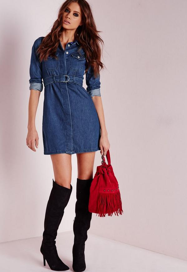 denim belted shirt dress indigo missguided