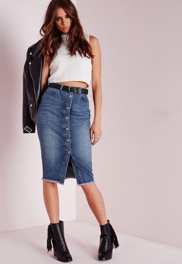 Long Button Through Denim Midi Skirt Stonewash