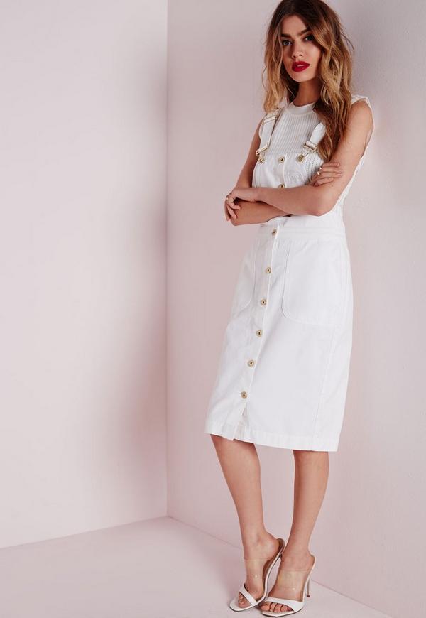 robe salopette blanche en jean missguided. Black Bedroom Furniture Sets. Home Design Ideas
