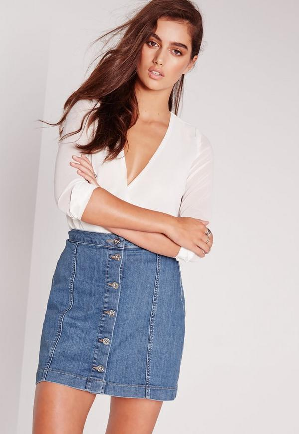 A-Line Button Through Denim Skirt Black | Missguided