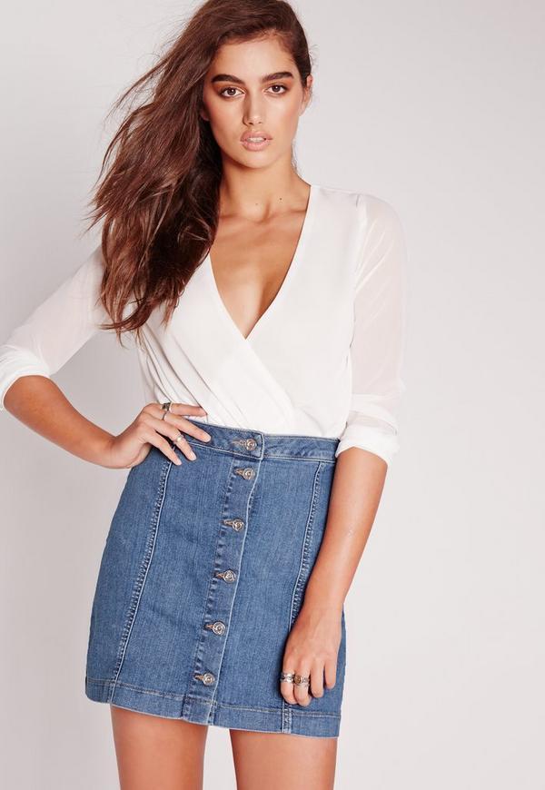 button through denim skirt rinse indigo missguided