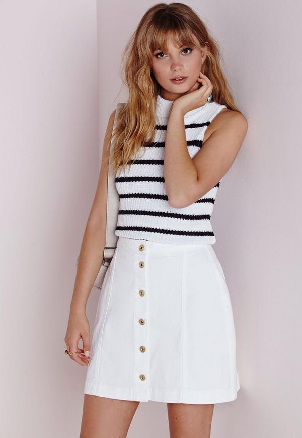 Button Through Denim Skirt White | Missguided